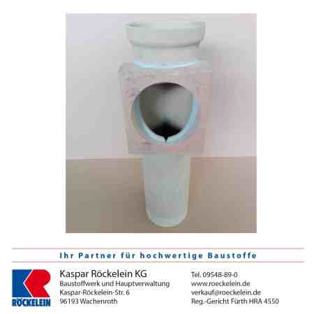 Kamin – Rauchrohranschluss – OSMOTEC isostat., oben, Abgasrohr Heizung 100 mm, Rauchrohröffnung 120 mm