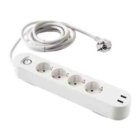 4-fach Steckerleiste mit 2 Stk. USB-Anschlüssen, schaltbar, weiß (OVP)