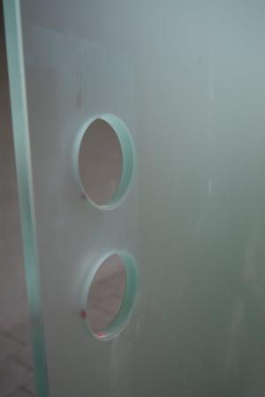 Ganzglastürblatt, ESG 10 mm, satiniert mit Bodendichtung & Stahlzarge, 0,885 x 2,75 m