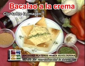 Bacalao a la crema en el Restaurante de Córdoba Sociedad Plateros María Auxiliadora