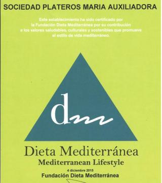 Certificado de la Fundacion Dieta Mediterranea al Restaurante Sociedad Plateros Maria Auxiliadora en castellano