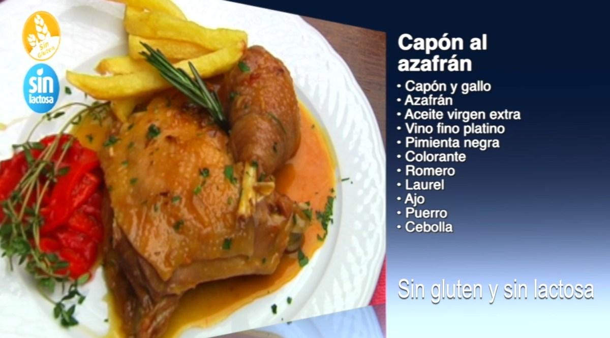 Receta de Capon al azafran sin gluten y sin lactosa, como se hace