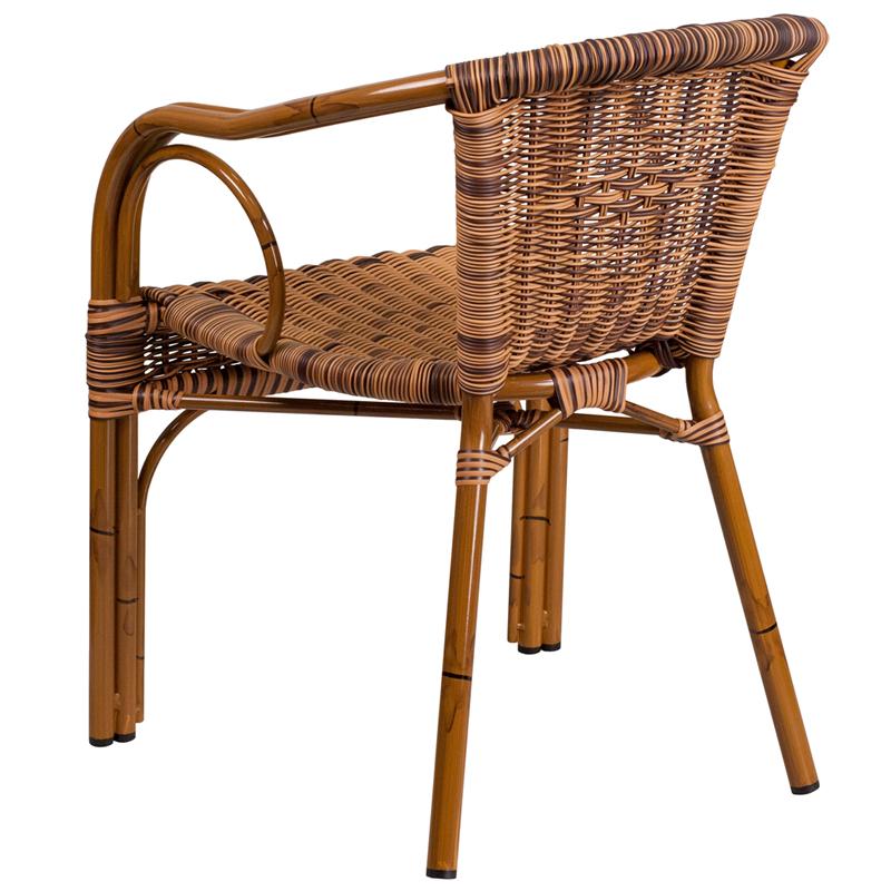 cadiz series burning brown rattan restaurant patio chair with dark red bamboo aluminum frame