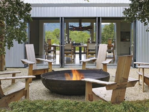 Rustic fire pit seating