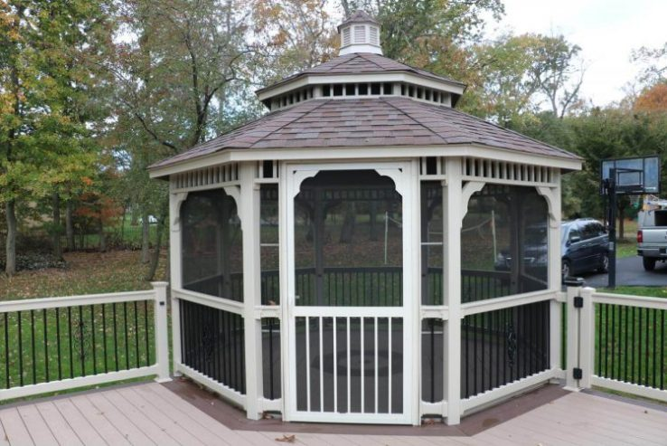 A covered gazebo was built on the deck