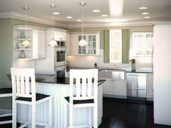 G shape large kitchen layout