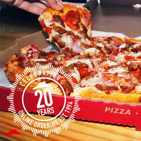 Pizza Hut Celebrates 20th Anniversary of World's First Online Purchase With 50 Percent Off Online Deal for Hut Lovers Members