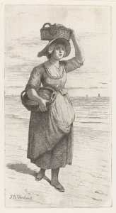 Otterbeek - vrouw met manden - ets - rijksmuseum