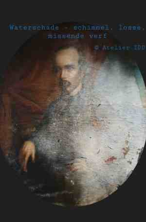 waterschade - schimmel en missende verf 18e Eeuws schilderij