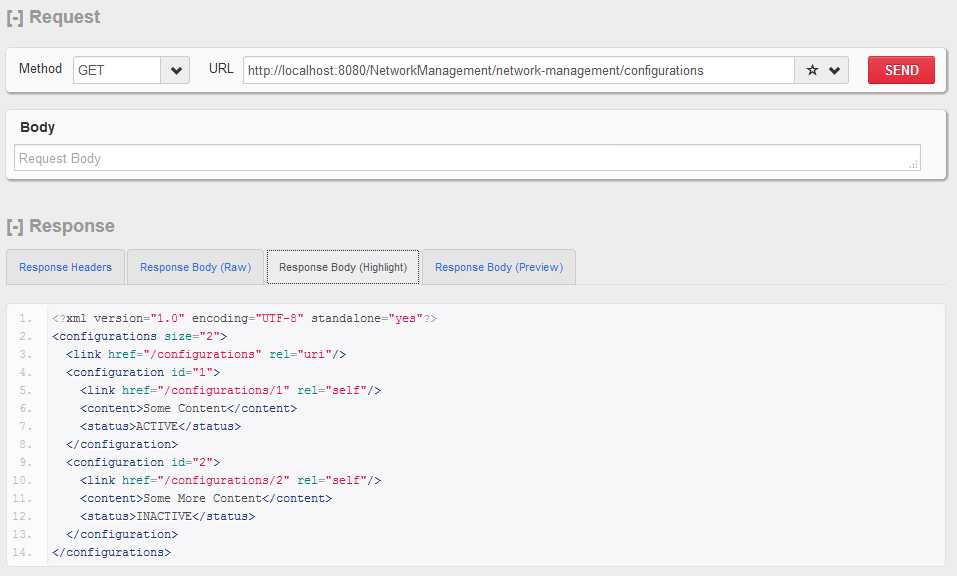HTTP GET - Configuration Collection Resource