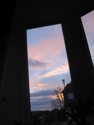 Sunrise framed in my front window