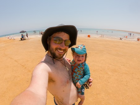 bodhi and daddy at the dead sea