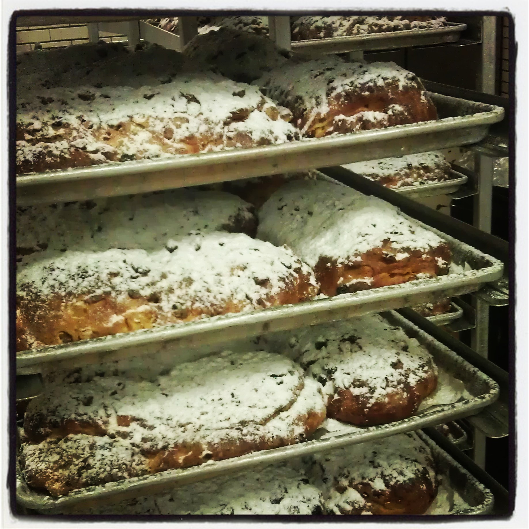 Dinkel's bakes 600 lbs of stollen a day in December.