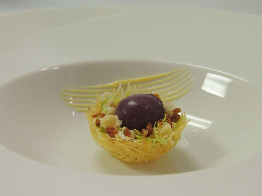 Tiny Lyonnaise & Burgundy Poached Quail Egg/ Photo: George Trois