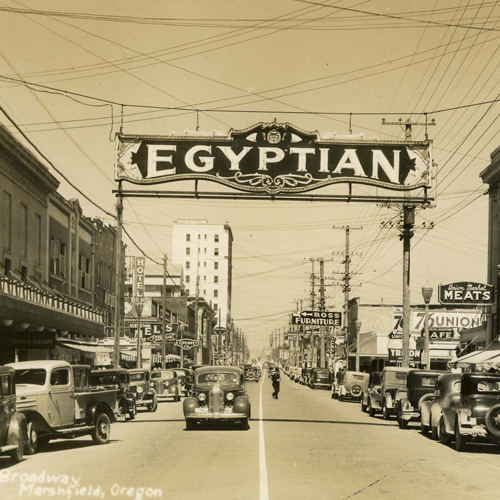 Sign above street, Egyptian Theatre