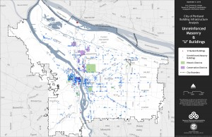City-wide map of unreinforced masonry building (Map courtesy City of Portland)