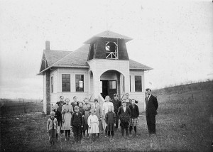 Undated photo of Sunnyside School with bell tower (Photo courtesy Benton County Historical Society)
