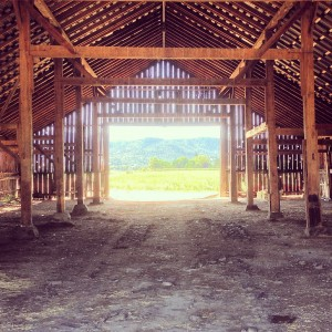 Interior of a barn in Jackson County.