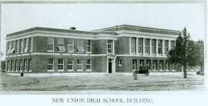 Historic image of Redmond Union High School, circa 1922.