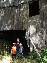 Agnes Sawyer/Ora Smith's great-granddaughter and great great grandchildren visit the barn (photo courtesy Anne Kepner)
