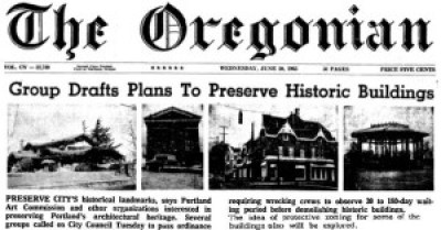 2015 or 1965? An upcoming exhibit will critique 50 years of preservation in Portland. This June 1965 article is eerily similar to one published in February 2015.