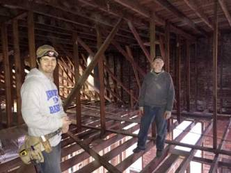 Workers in the rafters