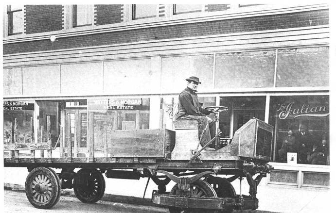 1911 flatbet delivery truck in front of the Julian Hote