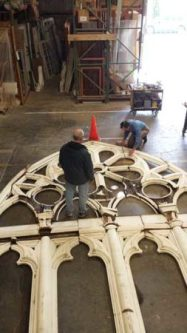 Restoration of the tracery panels at Versatile Wood Products workspace