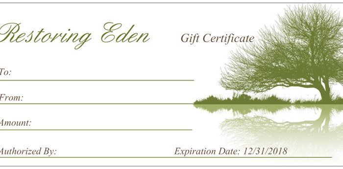 Gift Certificate Restoring Eden