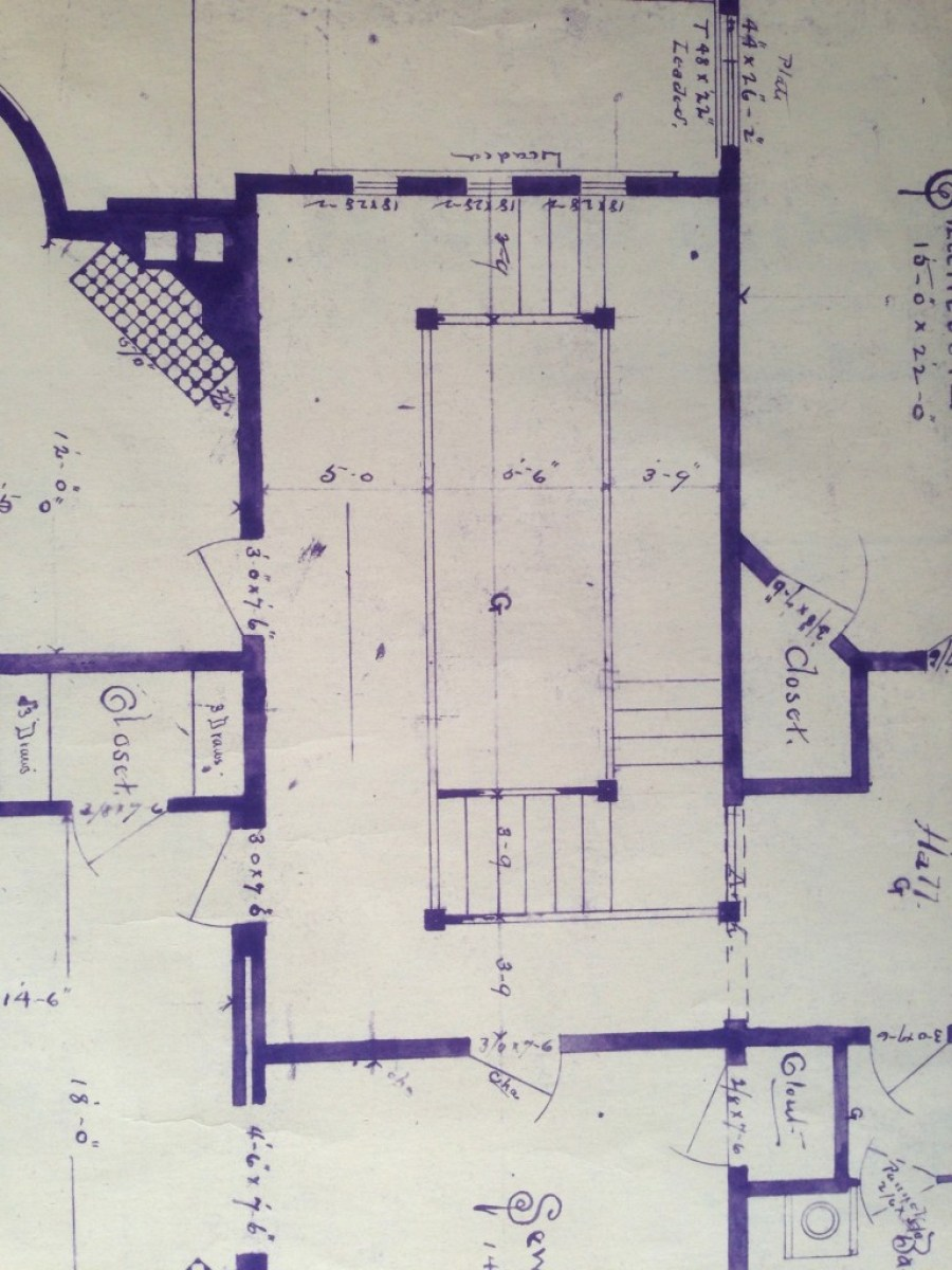 This is an 1894 blueprint of the second-floor stair hall. The top of the image is north, and the exterior wall has three stained-glass windows (extant). In the middle you see a large rectangle. That is an opening to the main level. The stair was built as drawn, except for the few steps hugging the north wall. These steps were actually built around the corner a bit, hugging the east wall.