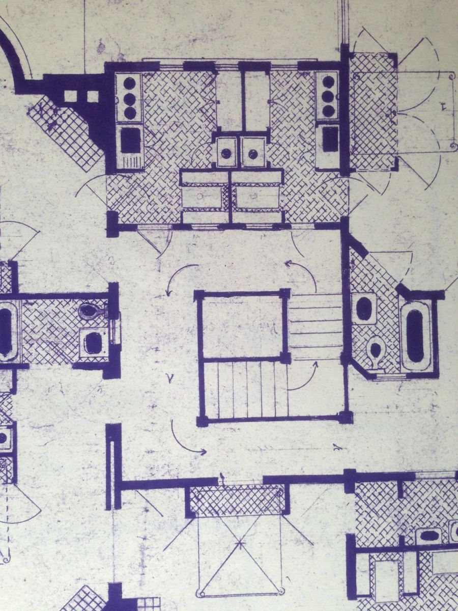 This is a 1920s blueprint of alterations made to convert the house into apartments. The drawing shows how the original expansive opening was significantly shrunk to add two kitchens. The plan shows doors opening from each kitchen into the stair hall. There is no evidence that these doors were actually built, although there IS evidence that each kitchen had an interior window in the newly created wall, so that daylight could reach the now window-less stair hall.