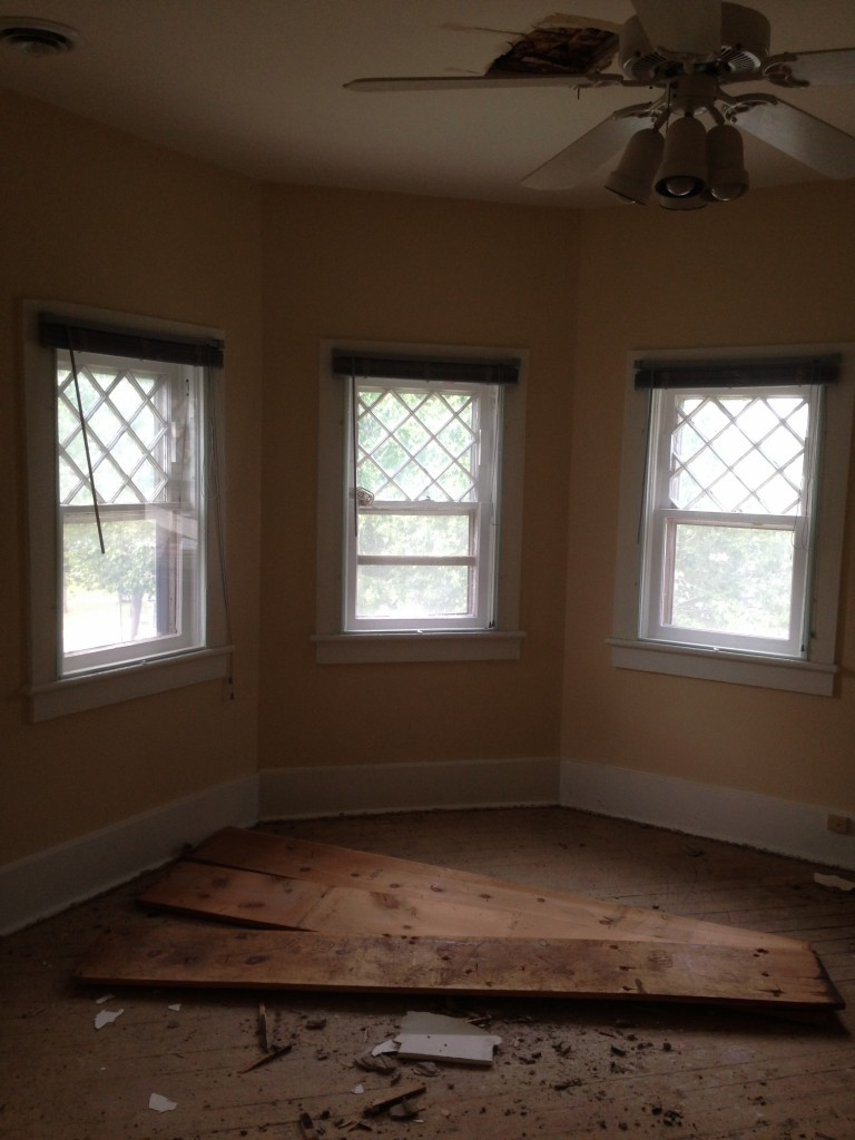 This delightful room will be the new master bath, and with a claw-foot tub sitting in the bay.