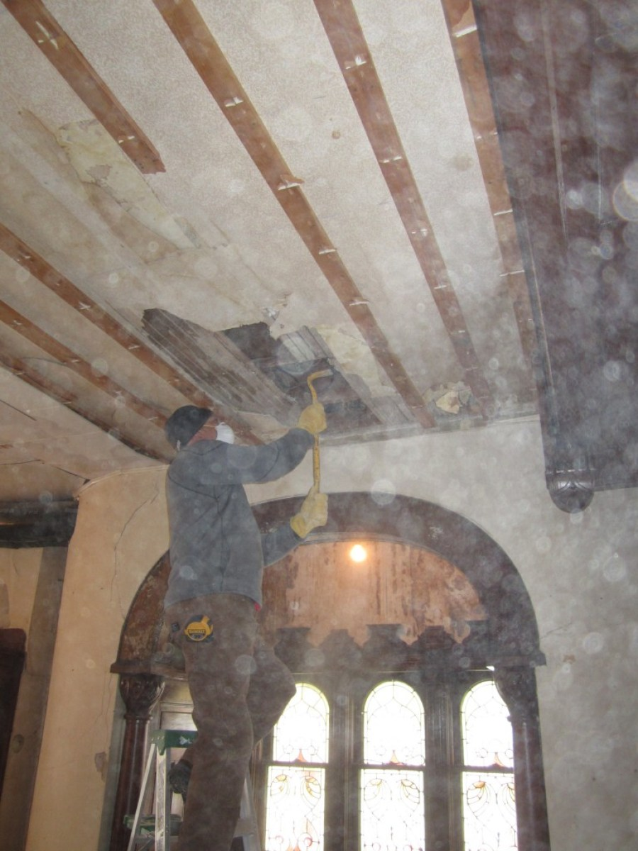 This is Scott, on the first floor, and under where the offending wall was. The plaster above his head was put in place in the 1920s, when the original expansive stair opening was reduced by three-quarters. The image is poor due to all the floating dust.