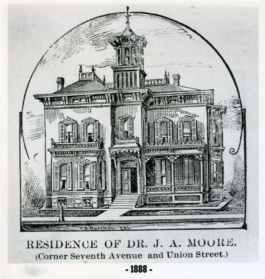 Dr. John A. Moore House, 1888, by Charles W. Squires. The house, demolished, was a block to the north of the Cross House, at 706 Union.