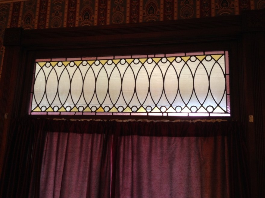 Stained-glass window in the front bay.