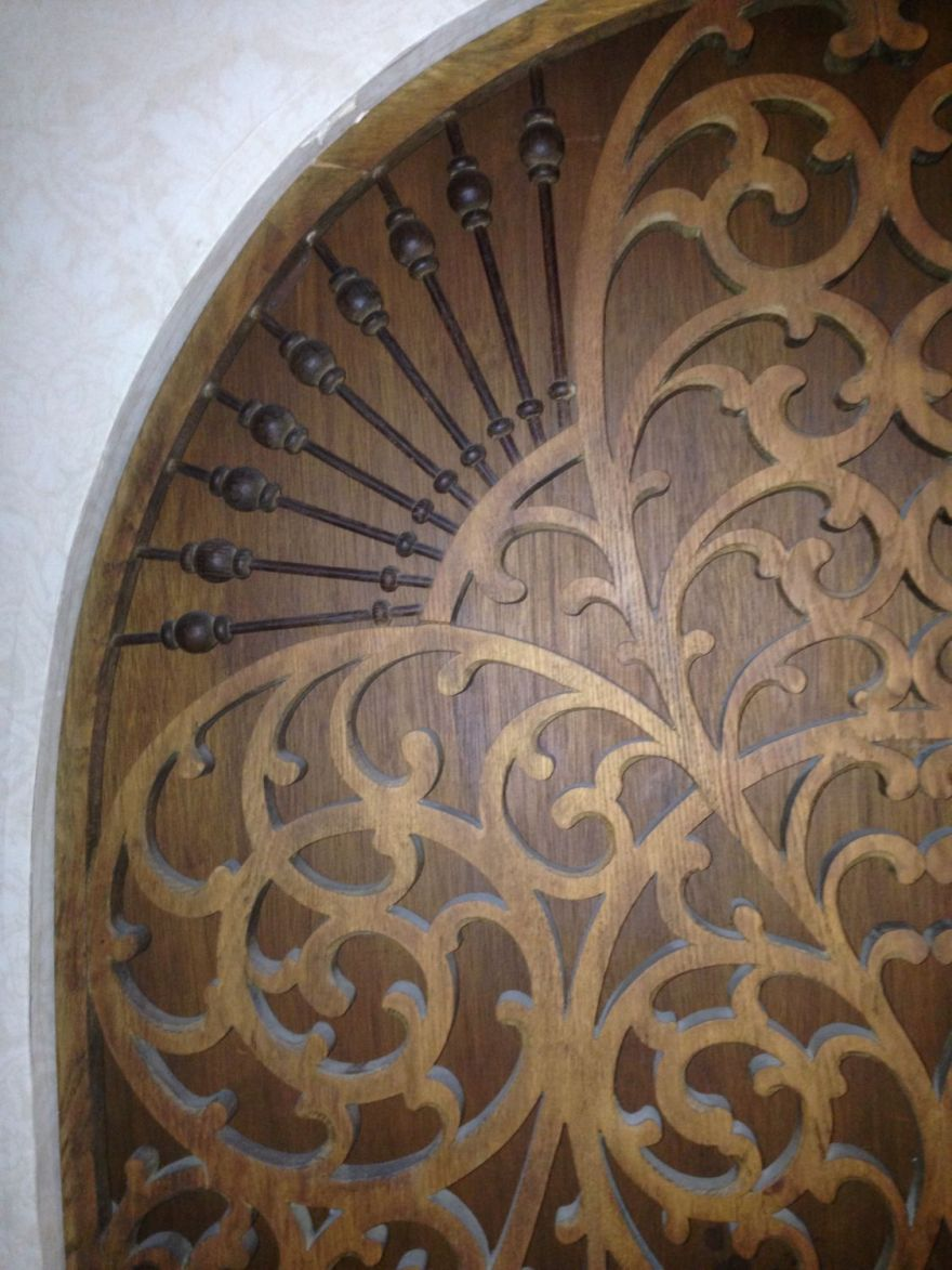 You would have seen THROUGH the fretwork originally. But why??????
