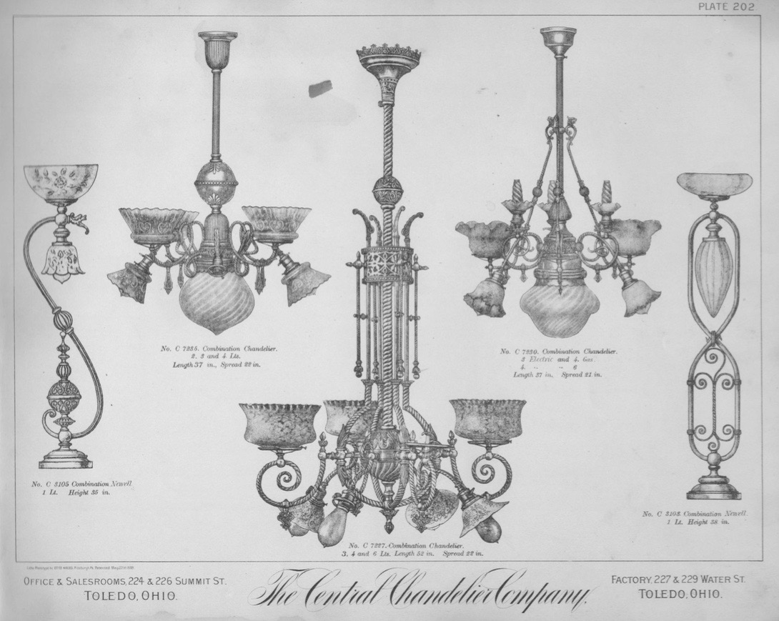 A Brief History Of Gas Electric Lighting Restoring Ross Electrical Wiring Diagram Chandelier By 1891 Revolution Was Underway As Shown In This Catalog The Central Company Electricity Arms Face Up Down