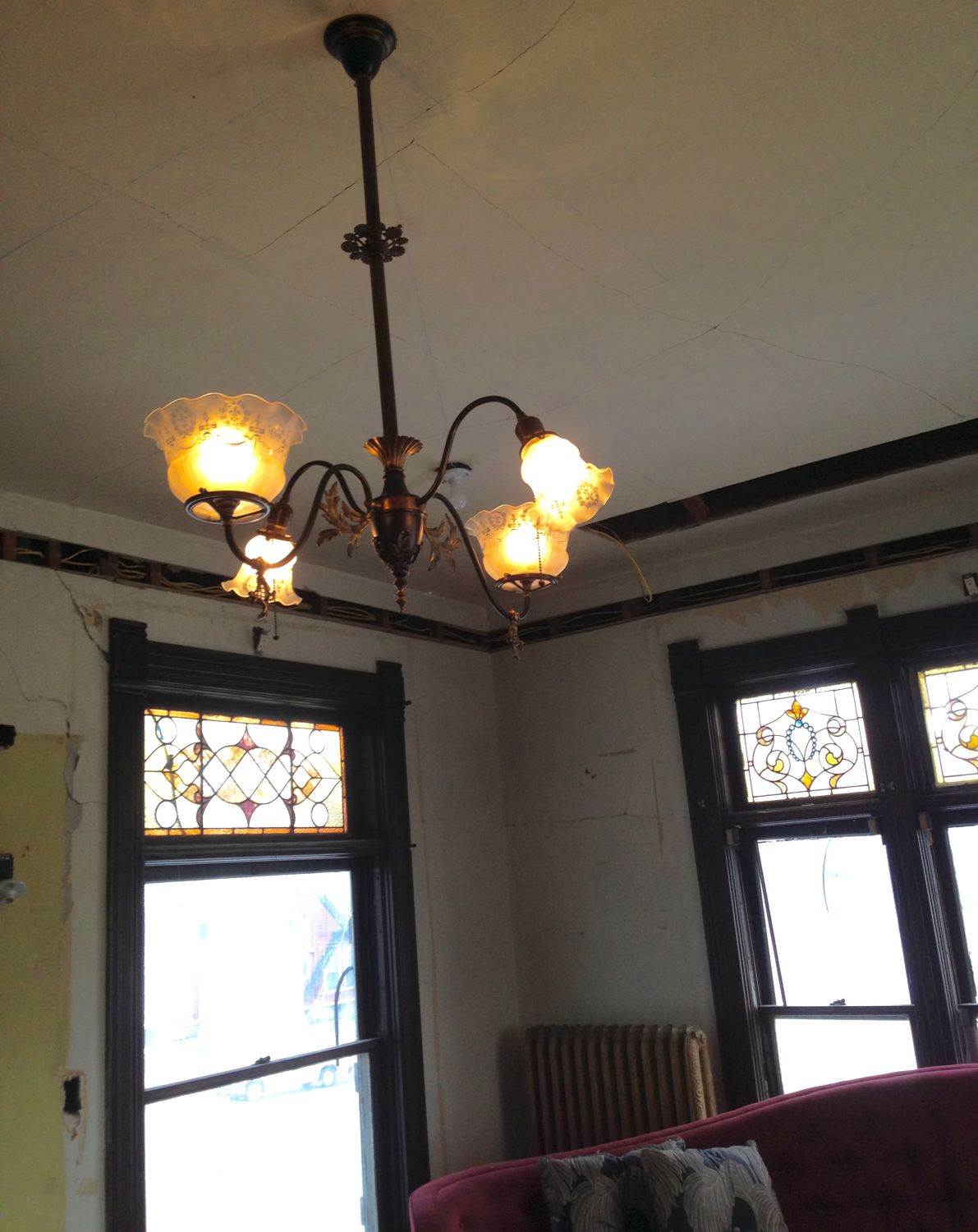 This fixture had been converted to all electric it has the same gas valves and acanthus details as the one in the octagon