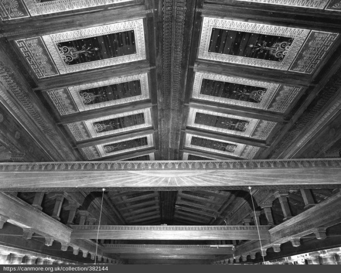 Sanctuary. Painted and stenciled ceiling. Courtesy RCAHMS.