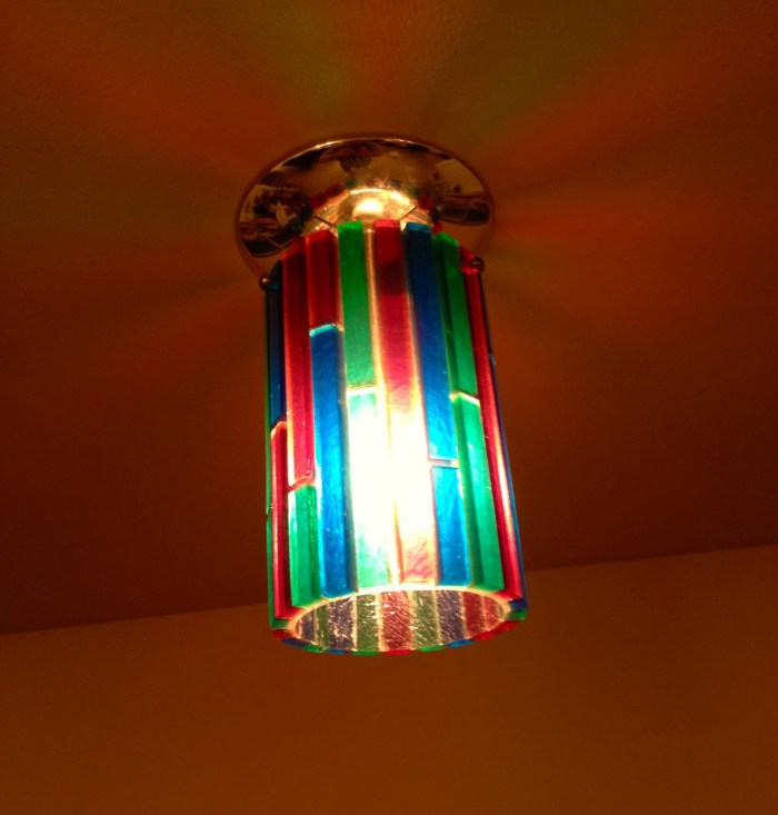"""The fixtures are from Moe's Fiesta line, a """"response to the refreshing trend toward vivid colors in fashionable home decorating."""""""