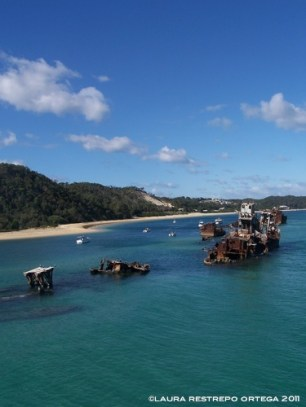 australia moreton island sunken boats 1