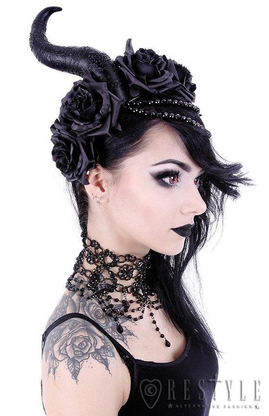 Gothic Headpiece Black Headband Satan Horns EVIL QUEEN