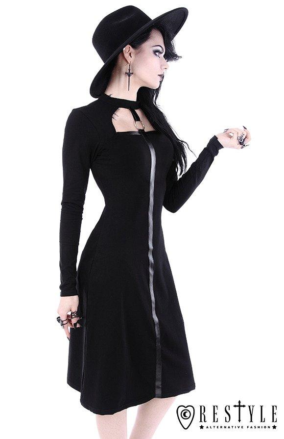 SCARLETT DRESS Black Gothic Dress Leather Strap With O