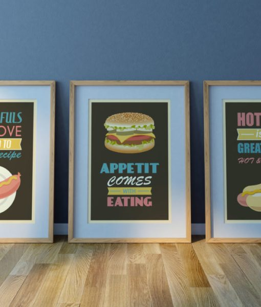 American food print set from 3