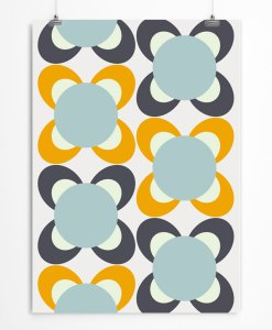 Blossom Pattern Print Yellow Blue