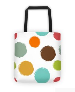 Colorful circles tote bag on white