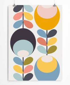 Nordic Floral Art Print For Kid's Room