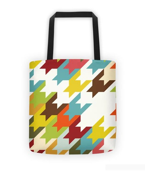 Houndstooth tote bag on white