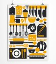 Kitchen art print yellow-black