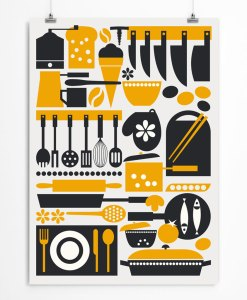 Kitchen art print yellow-black color. Check out on restylegraphic.com